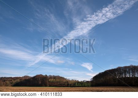 Panoramic Image Of Scenic View On A Fair Weather Day, Bergisches Land, Odenthal, Germany