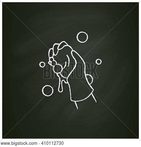 Wet Cleaning Chalk Icon. Wiping With Cloth. Housekeeper Hand In Glove Squeezes A Rag Pictogram. Hous
