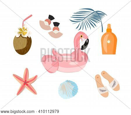 Summer Items. Beach Feature Set: Sunscreen Lotion Spray, Starfish, Earrings, Exotic Coconut Cocktail