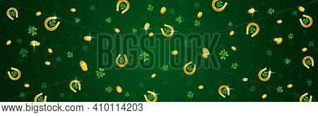 Green Patricks Day Greeting Banner With Golden Horseshoes, Coins And Clovers. Patrick's Day Holiday