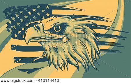 Vector Illustation American Eagle Against Usa Flag