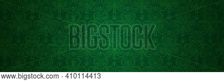 Green Patricks Day Greeting Banner With Green Clovers. Patrick's Day Holiday Design. Horizontal Back