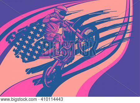 Motocross Rider Ride The Motocross Bike Vector Illustration
