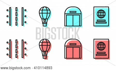 Set Line Aircraft Hangar, Airport Runway, Hot Air Balloon And Passport Icon. Vector