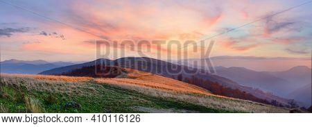 Autumn Sunset Mountain Beautifull Panorama (carpathian, Ukraine).