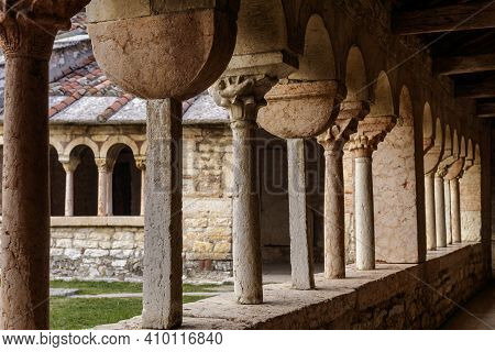 San Giorgio Di Valpolicella, Italy - 02 22 2021: The Colonnade Of The Cloister, Dating Back To The C