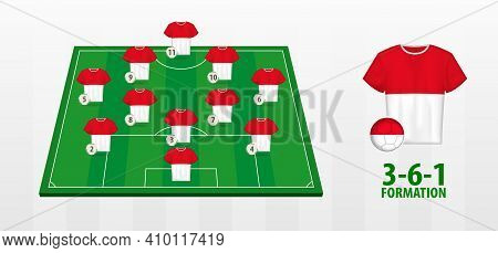 Indonesia National Football Team Formation On Football Field. Half Green Field With Soccer Jerseys O