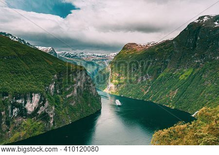 Geirangerfjord, Norway. Touristic Ship Ferry Boat Cruise Ship Liner Floating Near Geiranger In Geira