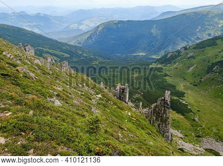 Summer Mountain Slope With Picturesque Rock Formations. Shpyci Mountain, Carpathian, Ukraine.