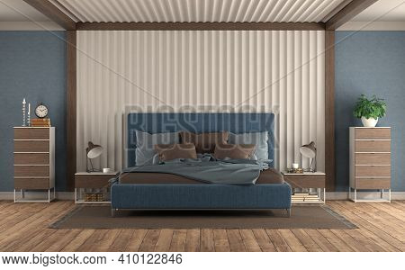 Modern Bedroom With Blue Double Bed Against Gypsum Panel,nightstand And Chest Of Drawers - 3d Render