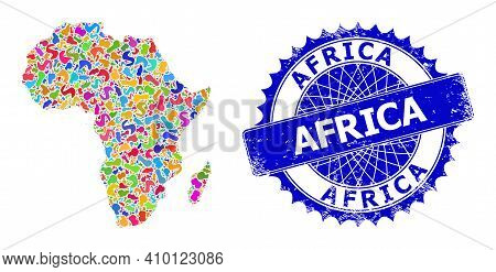 Africa Map Template. Blot Mosaic And Distress Mark For Africa Map. Sharp Rosette Blue Mark With Tag