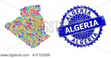 Algeria Map Vector Image. Blot Pattern And Distress Seal For Algeria Map. Sharp Rosette Blue Stamp S
