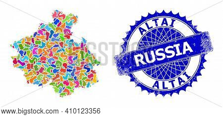 Altai Republic Map Abstraction. Splash Collage And Distress Badge For Altai Republic Map. Sharp Rose