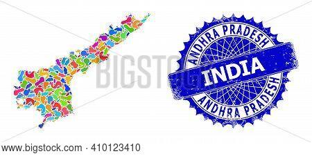 Andhra Pradesh State Map Template. Spot Mosaic And Rubber Stamp For Andhra Pradesh State Map. Sharp