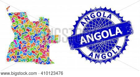 Angola Map Vector Image. Blot Collage And Distress Stamp Seal For Angola Map. Sharp Rosette Blue Sea