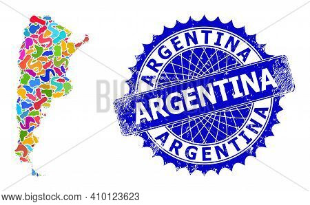Argentina Map Template. Spot Mosaic And Scratched Mark For Argentina Map. Sharp Rosette Blue Stamp W