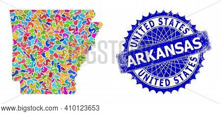 Arkansas State Map Template. Blot Collage And Rubber Seal For Arkansas State Map. Sharp Rosette Blue