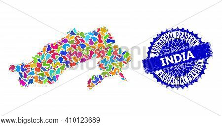 Arunachal Pradesh State Map Vector Image. Splash Pattern And Corroded Stamp Seal For Arunachal Prade