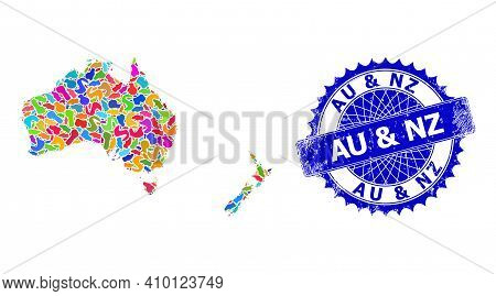 Australia And New Zealand Map Flat Illustration. Spot Mosaic And Distress Stamp Seal For Australia A