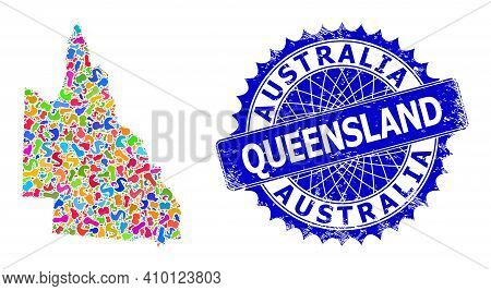 Australian Queensland Map Abstraction. Blot Mosaic And Rubber Seal For Australian Queensland Map. Sh