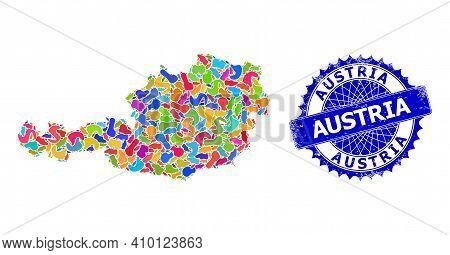 Austria Map Vector Image. Splash Collage And Distress Watermark For Austria Map. Sharp Rosette Blue