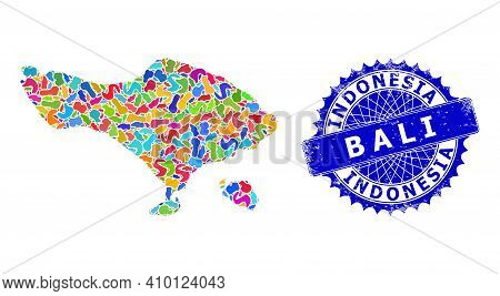 Bali Map Abstraction. Splash Collage And Rubber Stamp Seal For Bali Map. Sharp Rosette Blue Seal Wit