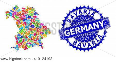 Bavaria Land Map Flat Illustration. Spot Collage And Grunge Stamp Seal For Bavaria Land Map. Sharp R