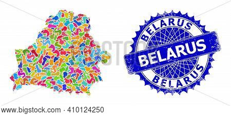Belarus Map Flat Illustration. Spot Collage And Rubber Stamp For Belarus Map. Sharp Rosette Blue Sta