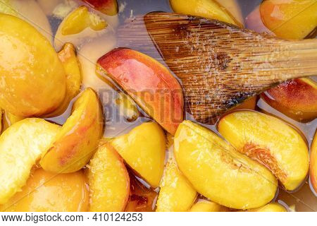 Peach Jam. Peaches With Sugar Syrup. Above. Looking Above. Fruit Background Backdrop. Studio Shot.