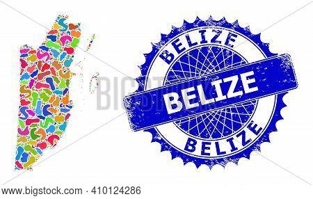 Belize Map Flat Illustration. Blot Mosaic And Scratched Badge For Belize Map. Sharp Rosette Blue Bad