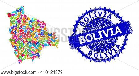 Bolivia Map Flat Illustration. Spot Collage And Scratched Stamp For Bolivia Map. Sharp Rosette Blue