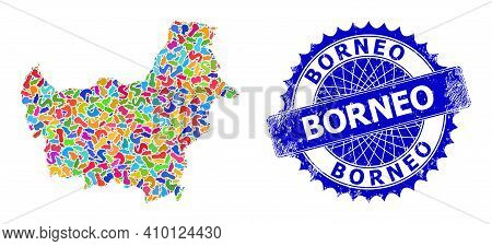 Borneo Map Template. Blot Pattern And Scratched Stamp For Borneo Map. Sharp Rosette Blue Stamp Seal