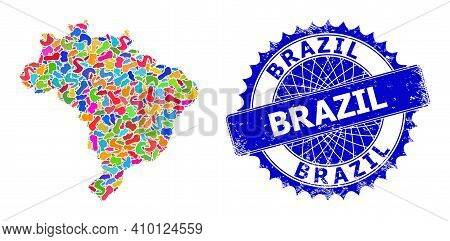 Brazil Map Abstraction. Blot Mosaic And Corroded Seal For Brazil Map. Sharp Rosette Blue Stamp Seal