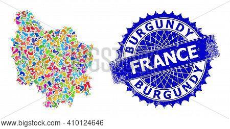 Burgundy Province Map Vector Image. Splash Mosaic And Grunge Stamp Seal For Burgundy Province Map. S