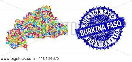 Burkina Faso Map Vector Image. Splash Mosaic And Rubber Seal For Burkina Faso Map. Sharp Rosette Blu
