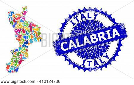 Calabria Region Map Flat Illustration. Blot Pattern And Unclean Seal For Calabria Region Map. Sharp