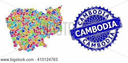 Cambodia Map Vector Image. Spot Collage And Scratched Stamp Seal For Cambodia Map. Sharp Rosette Blu