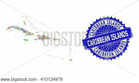 Caribbean Islands Map Vector Image. Splash Pattern And Unclean Stamp Seal For Caribbean Islands Map.