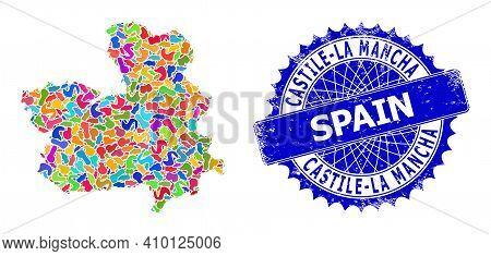 Castile-la Mancha Province Map Template. Blot Collage And Scratched Stamp Seal For Castile-la Mancha