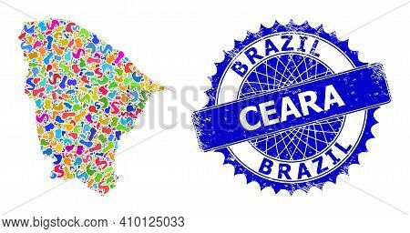 Ceara State Map Template. Blot Mosaic And Corroded Stamp Seal For Ceara State Map. Sharp Rosette Blu