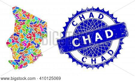Chad Map Vector Image. Blot Collage And Unclean Mark For Chad Map. Sharp Rosette Blue Mark With Tag