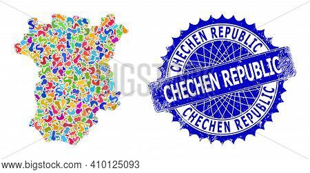 Chechen Republic Map Vector Image. Spot Collage And Scratched Seal For Chechen Republic Map. Sharp R