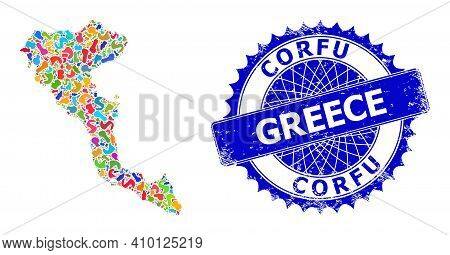 Corfu Island Map Flat Illustration. Spot Collage And Corroded Seal For Corfu Island Map. Sharp Roset