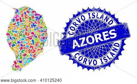 Corvo Island Map Vector Image. Spot Collage And Rubber Watermark For Corvo Island Map. Sharp Rosette