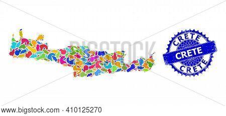Crete Map Flat Illustration. Spot Mosaic And Distress Badge For Crete Map. Sharp Rosette Blue Stamp