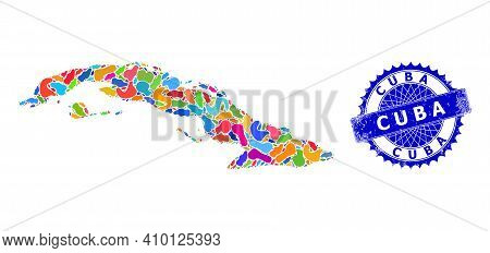 Cuba Map Abstraction. Spot Mosaic And Rubber Mark For Cuba Map. Sharp Rosette Blue Mark With Tag For