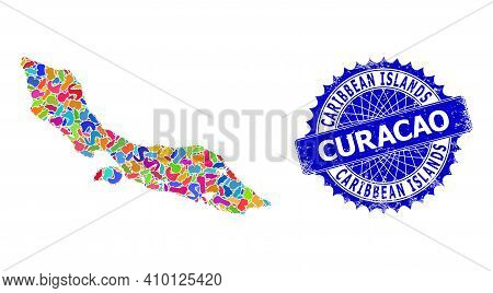 Curacao Island Map Vector Image. Spot Collage And Corroded Stamp Seal For Curacao Island Map. Sharp