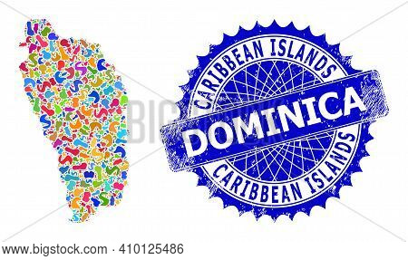 Dominica Island Map Vector Image. Spot Collage And Grunge Stamp Seal For Dominica Island Map. Sharp