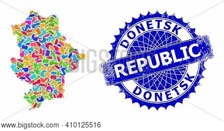 Donetsk Republic Map Template. Blot Collage And Distress Watermark For Donetsk Republic Map. Sharp R