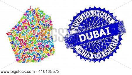 Dubai Emirate Map Vector Image. Splash Collage And Distress Stamp For Dubai Emirate Map. Sharp Roset